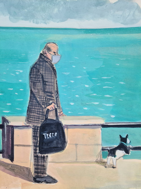 One man and his dog. Acrylic on paper, 14x21cm.