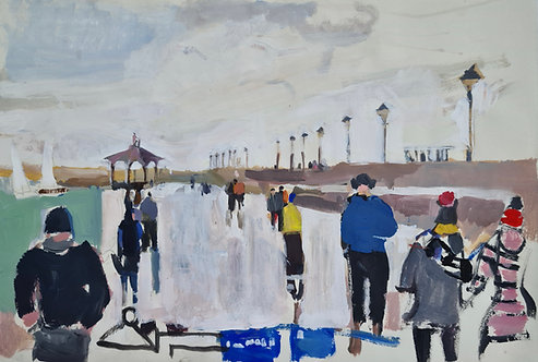 Dun Laoghaire East Pier. Acrylic on paper, 42x28cm.
