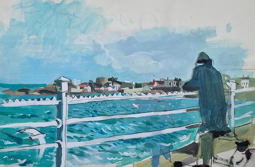 View to Sandycove. Acrylic on paper, 42x28cm.