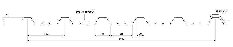 Trapezoidal Roofing Sheet A34 profile Angastiniotes