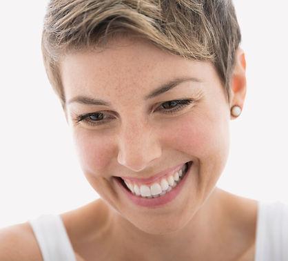 Oxygen facial smiling woman