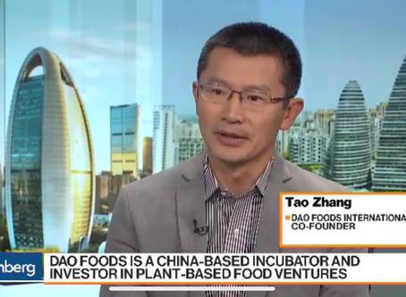Bloomberg Interview with Tao Zhang on Market Potential of Plant-Based in China
