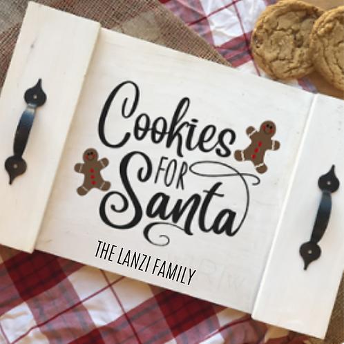Cookies For Santa Rustic Tray