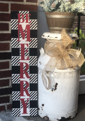 Be Merry Plaid Porch Sign