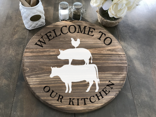 "Welcome to Our Kitchen Lazy Susan 18"" Round"