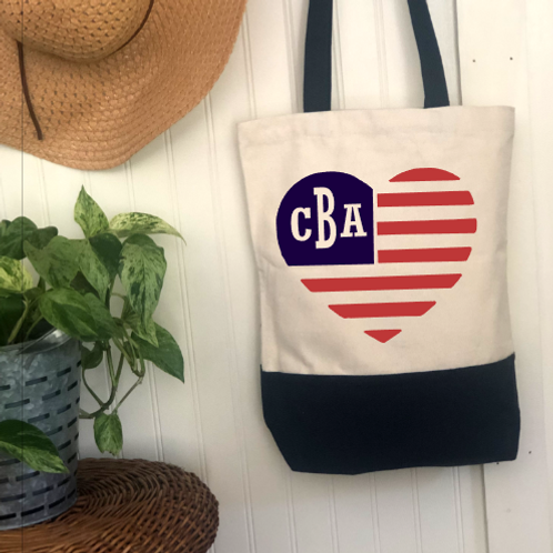 Monogram Heart American Flag DIY Canvas Bag