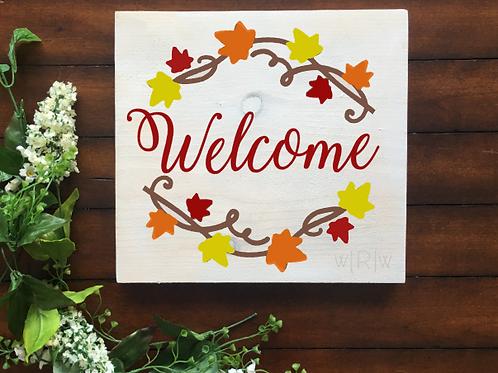 Fall Welcome w/ Leaves 12x12