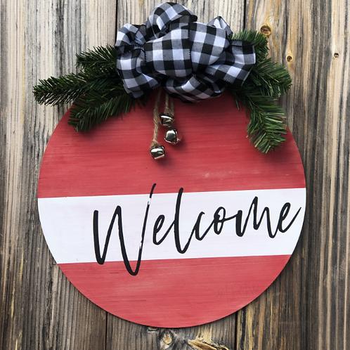 Round Welcome Ornament Door Hanger with Bells