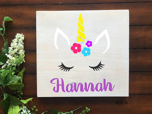 Unicorn Kid's Name 10x10