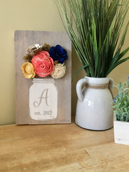 Initial Mason Jar w/ Wood Flowers 8x12