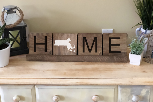 State Home Word Tiles w/ Holder