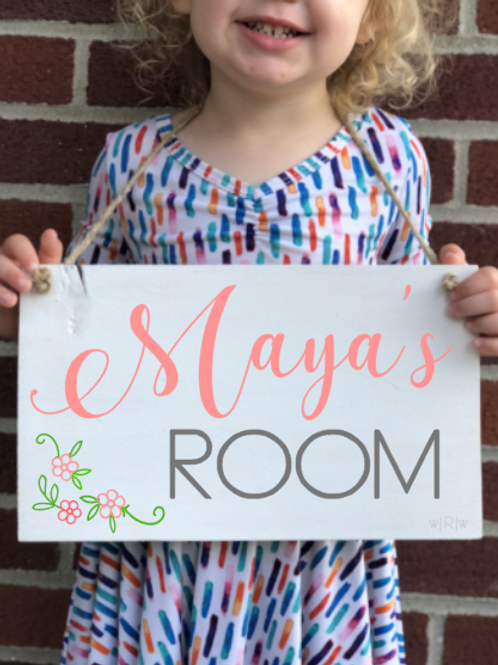 Kids Room Sign -  Girl 8x12