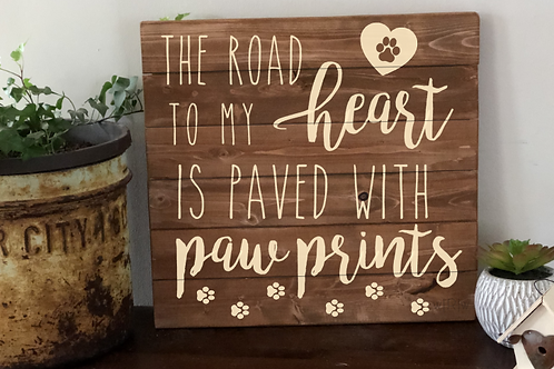 Road to Heart Paw Prints 14x16