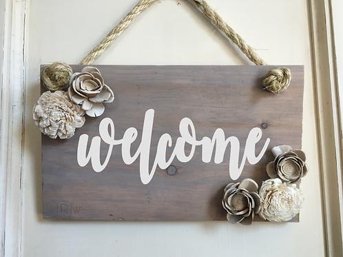 Welcome w/ Wood Flowers 8x12