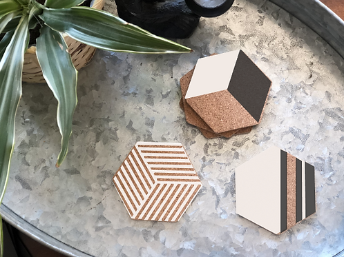 Hexagon Geometric Coasters (4pk)