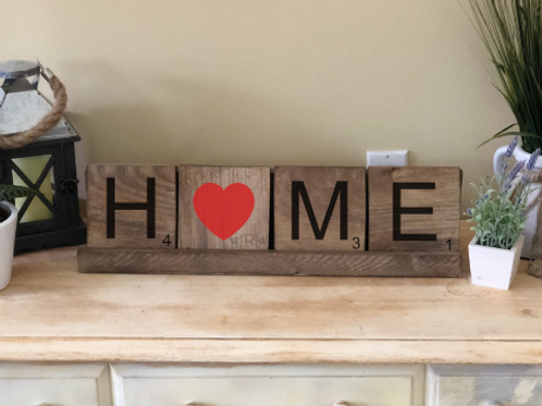 Heart Home Word Tiles w/ Holder