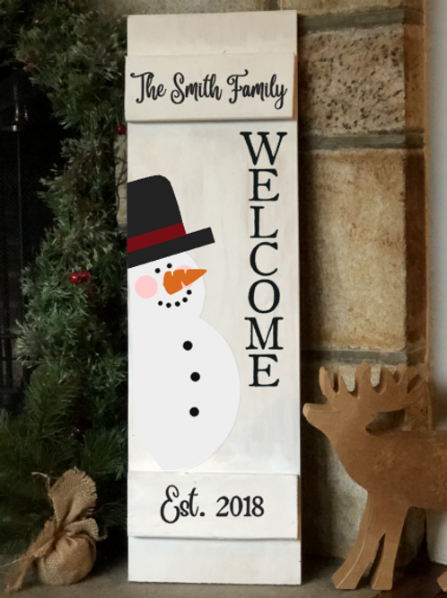 Welcome Snow Man Porch Sign