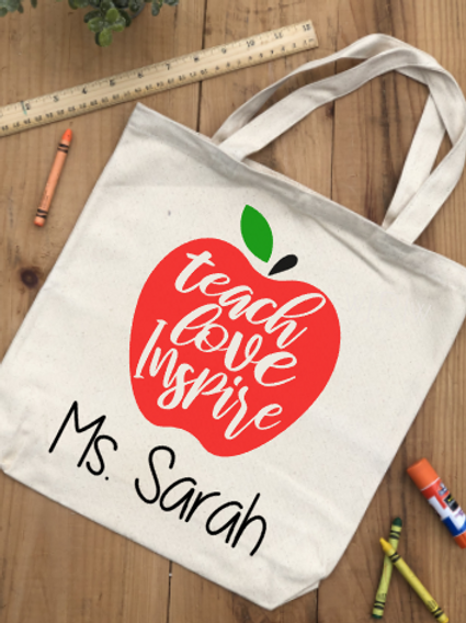 Teach Love Inspire Personalized Canvas Bag