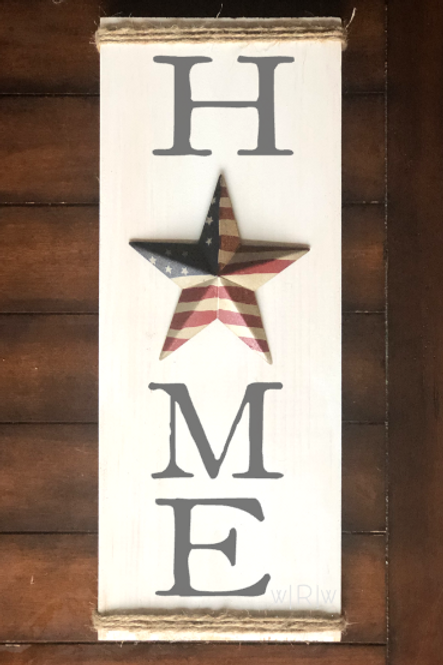 Home w/ Patriotic Star/Twine 8x20