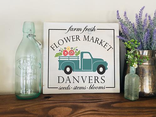 Flower Market w/Town Name 12x12