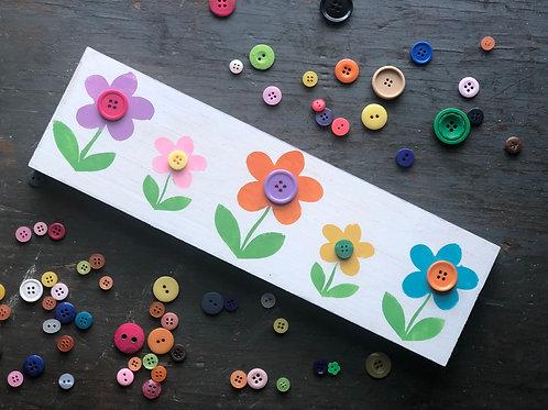 Rainbow Button Flowers