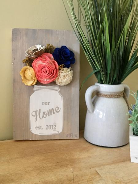 Home Mason Jar w/ Wood Flower
