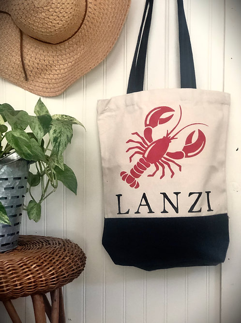 DIY Canvas Lobster Name Bag W/ Lobster Key Fob