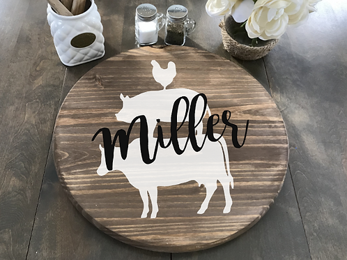 "Farm Animals w/ Last Name Lazy Susan 18"" Round"