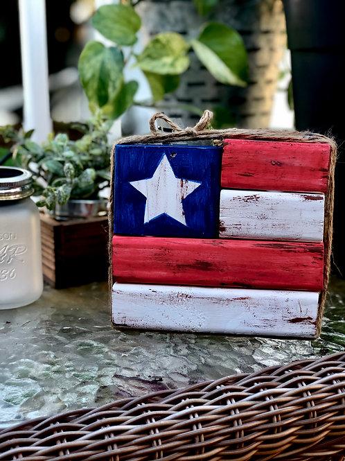 Patriotic Rustic Block Shelf Sitter