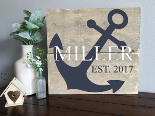 Anchor w/ Last Name & Established Date 14x16