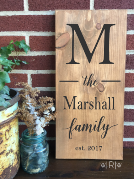 Vertical Last Name w/ Established Date 10x20