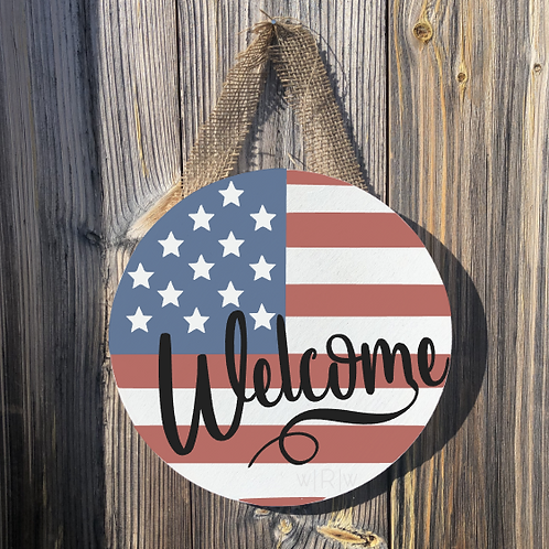 Welcome American Round Door Hanger