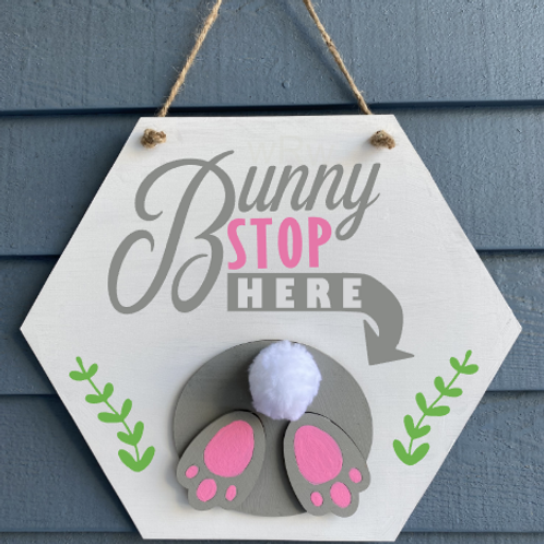 Bunny Stop Hanging Sign