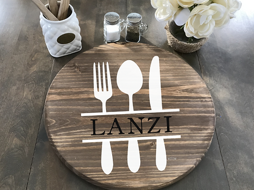 "Utensils w/ Last Name Lazy Susan 18"" Round"