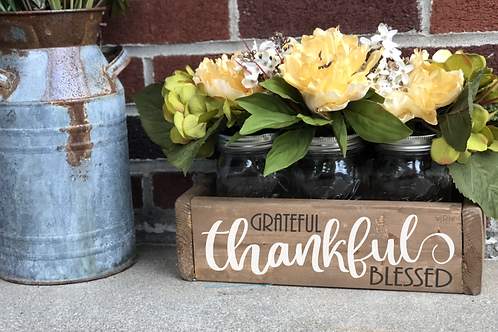 Grateful, Thankful, Blessed Flower Box