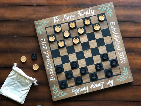 Personalized Checkerboard w/ Game Pieces