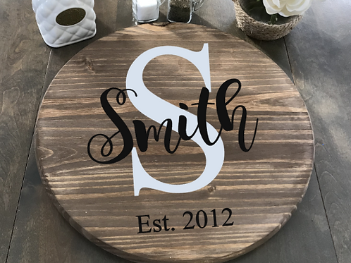 "Traditional Last Name Lazy Susan 18"" Round"