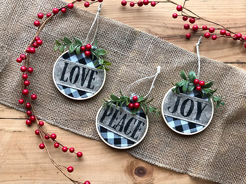 Peace Love Joy Burlap & Wood Ornaments