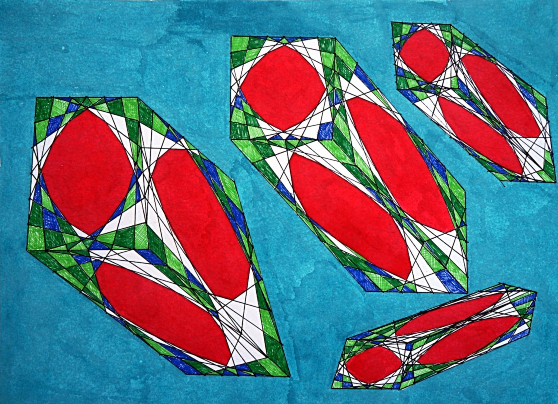 movimento onirico ortogonale di quattro pixel fluttuanti nel pigmento celeste