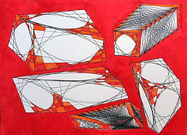 movimento onirico ortogonale di cinque pixel fluttuanti nel pigmento rosso