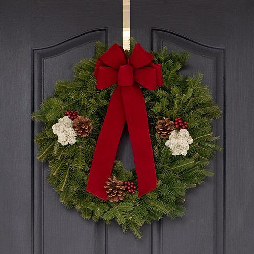 "18"" Fraser Fir Wreath w/ brass door hanger"