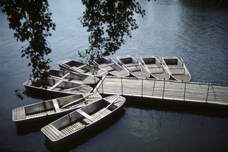 Boats on a dock at the Vltava River