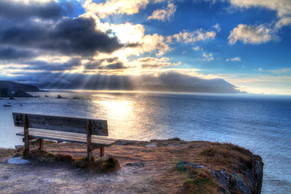 Sunset at the nicest bench in the world