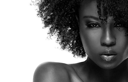 Black and white image of beautiful African American female