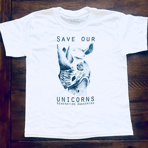Save Rhinos Kids Shirt - White