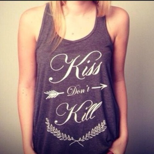 """Kiss don't Kill"" tank (grey)"