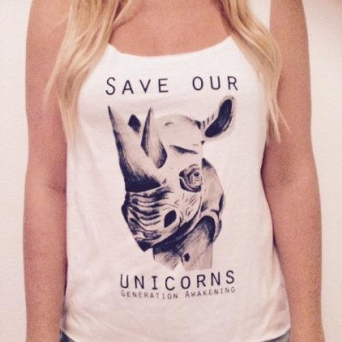 """White """"Save Our Unicorns"""" Tank"""