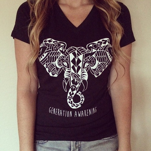 """Tribal Elephant"" T-Shirt (Black)"
