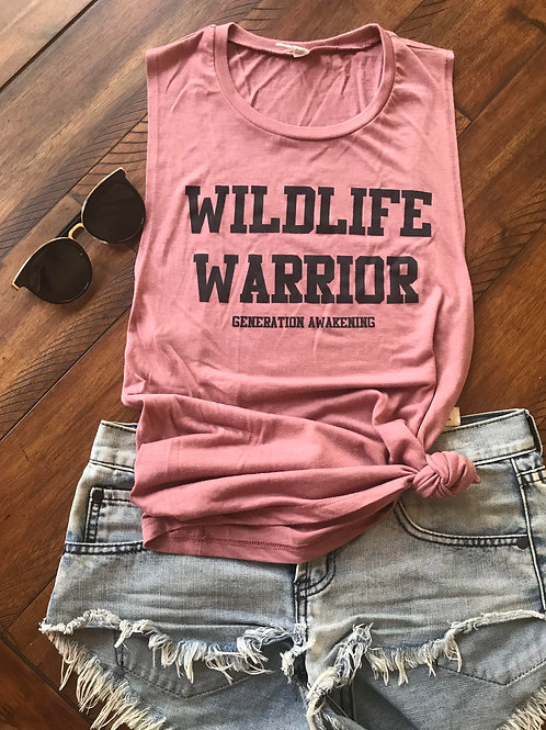 Wildlife Warrior Tank - Mauve - Varisty Letters