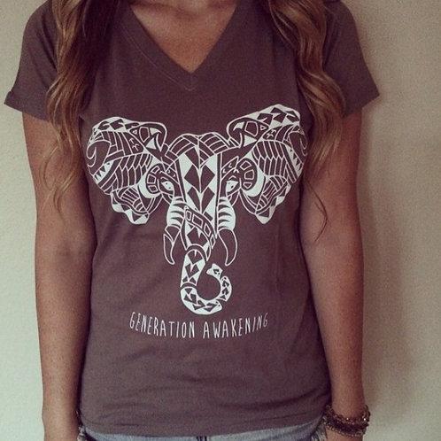 """Tribal Elephant"" T-Shirt (Pebble brown)"
